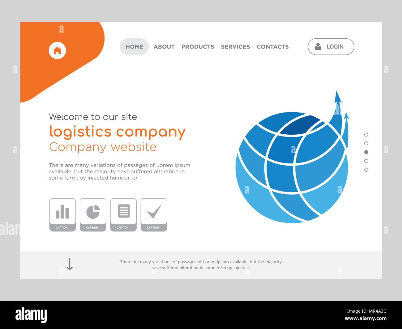 Quality One Page Logistics Company Website Template Vector