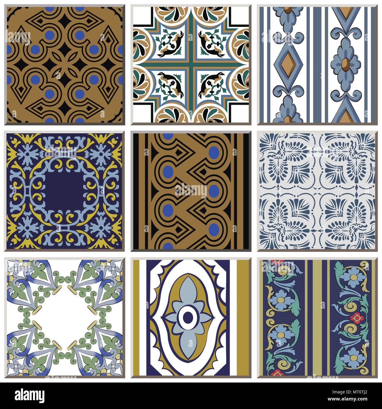 https www alamy com oriental antique retro ceramic tile pattern combo collection set vintage interior floor decoration image186874746 html