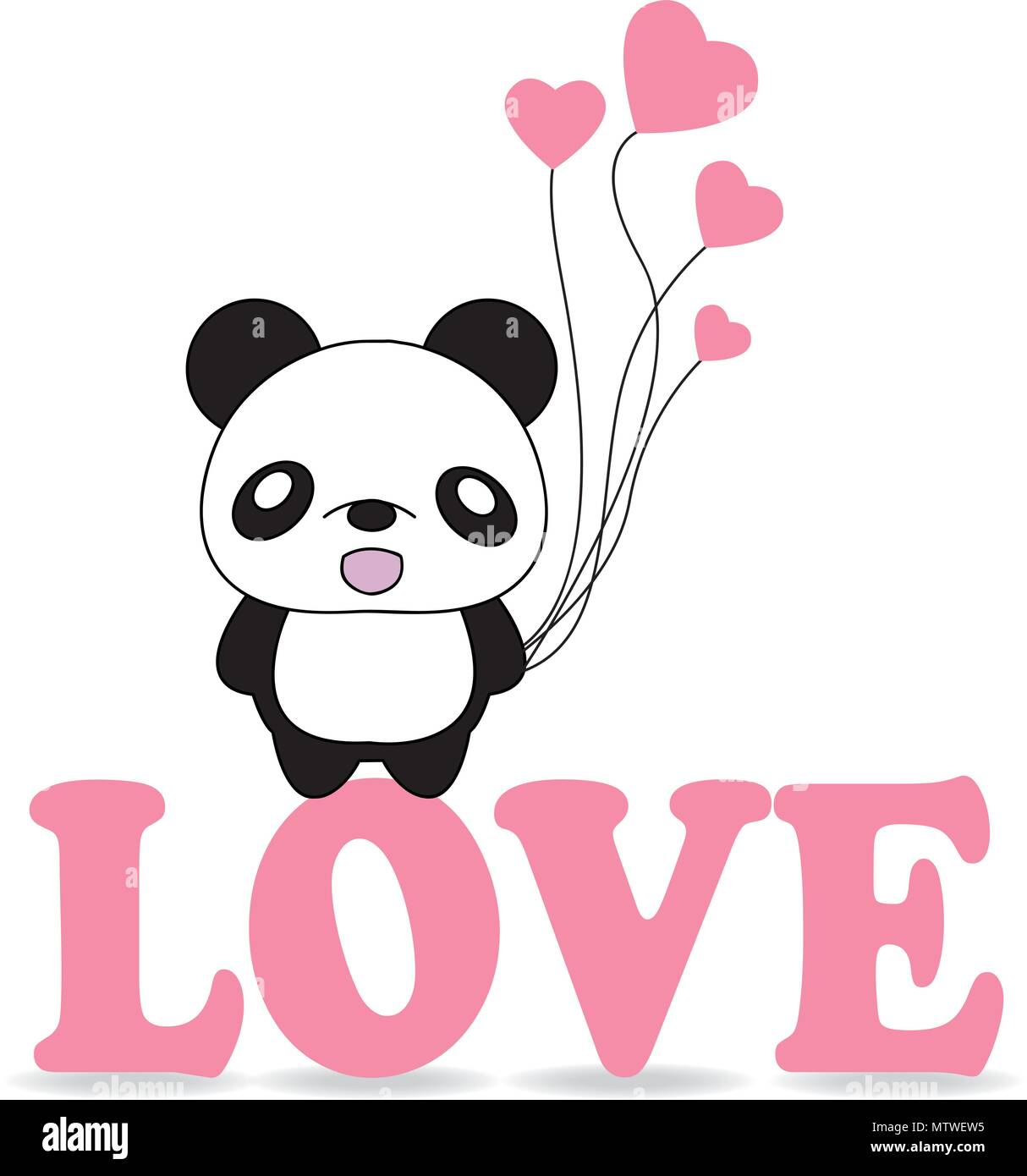 Valentines Card Design Cute Panda Bear