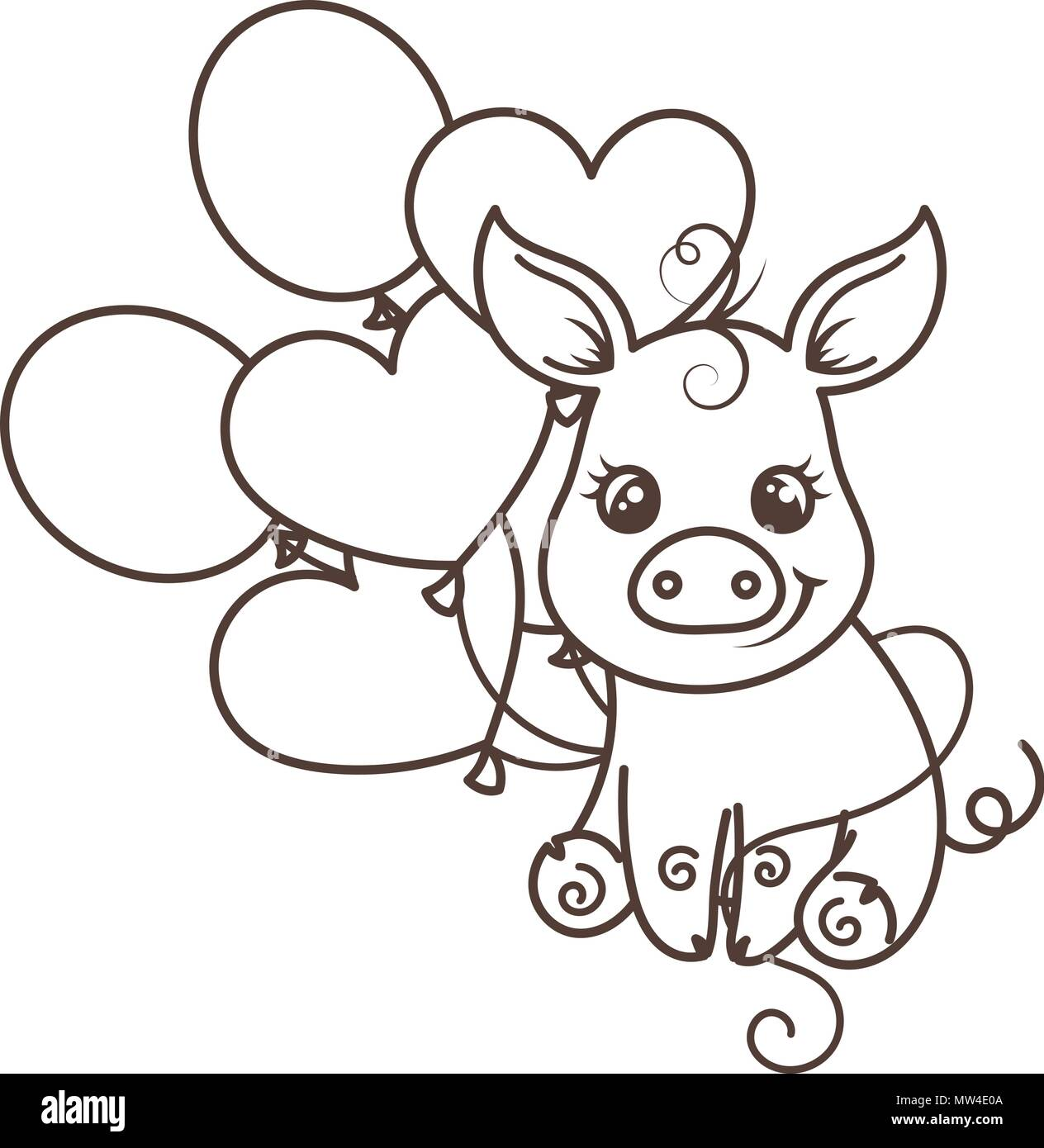 Greeting Card With Cute Cartoon Pig With Balloons Coloring Page Stock Vector Image Art Alamy