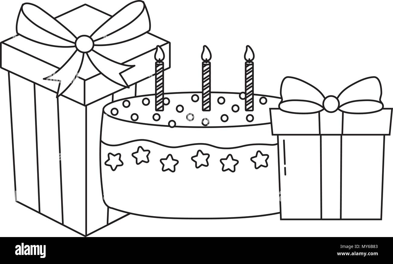 Birthday Cake And Gift Boxes Over White Background Vector Illustration Stock Vector Image Art Alamy