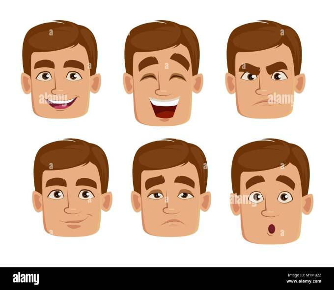 face expressions of man with brown hair. different male
