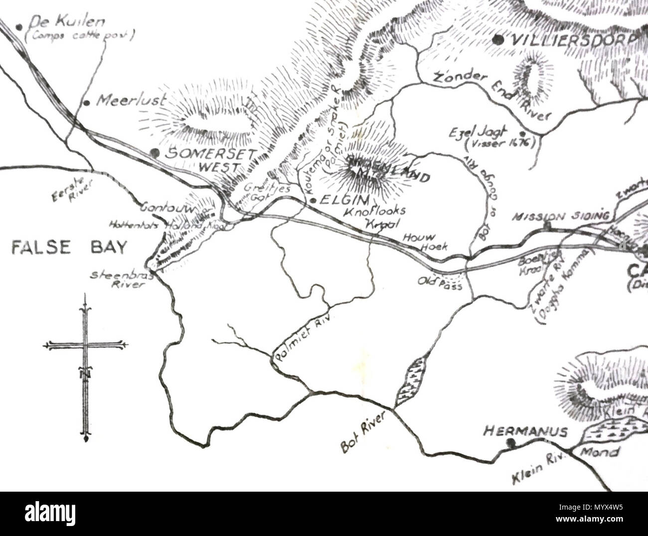 English Early Map Of Somerset West Palmiet River