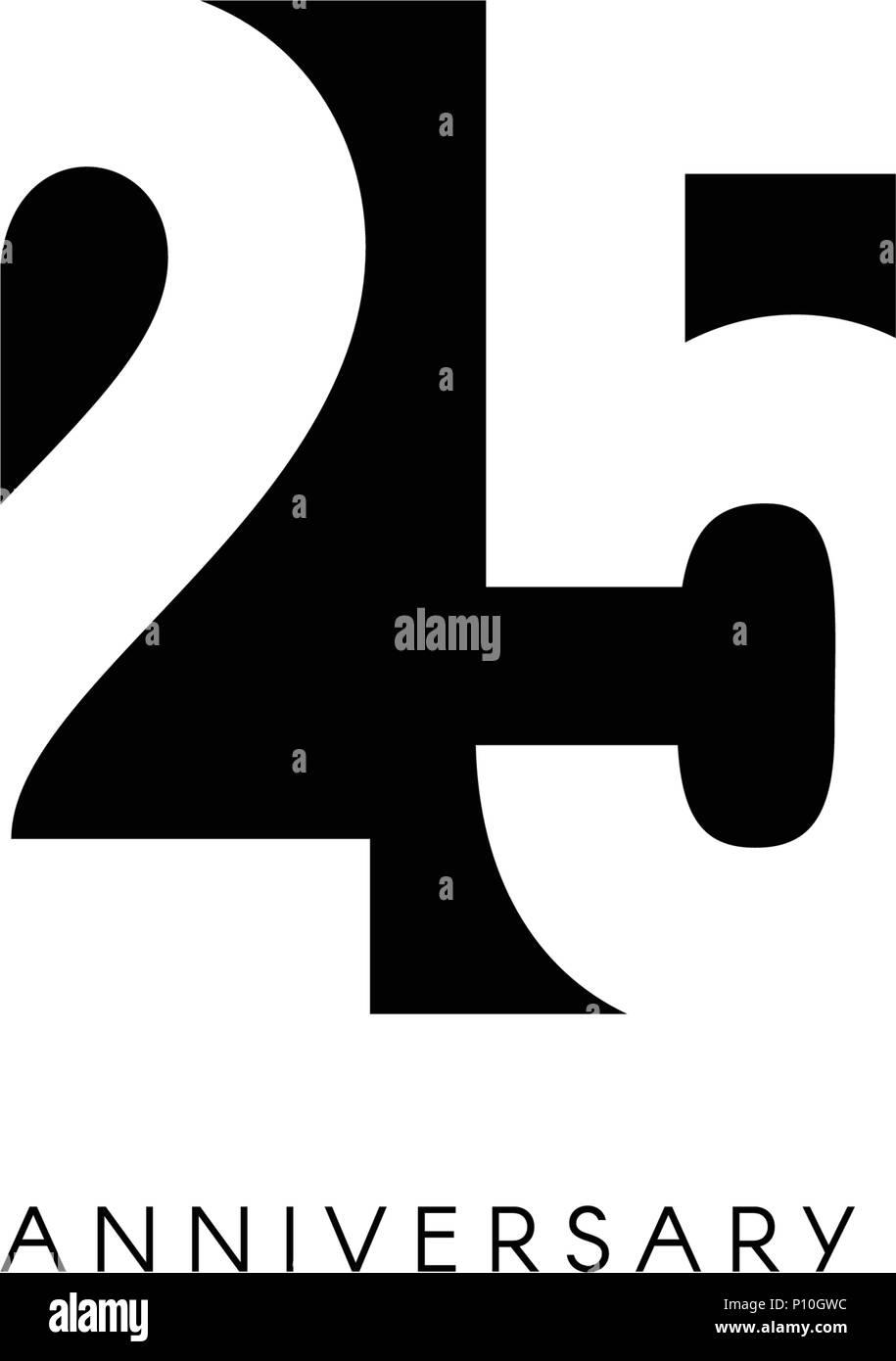 https www alamy com twenty five anniversary minimalistic logo twenty fifth years 25th jubilee greeting card birthday invitation 25 year sign black negative space vector illustration on white background image207152328 html