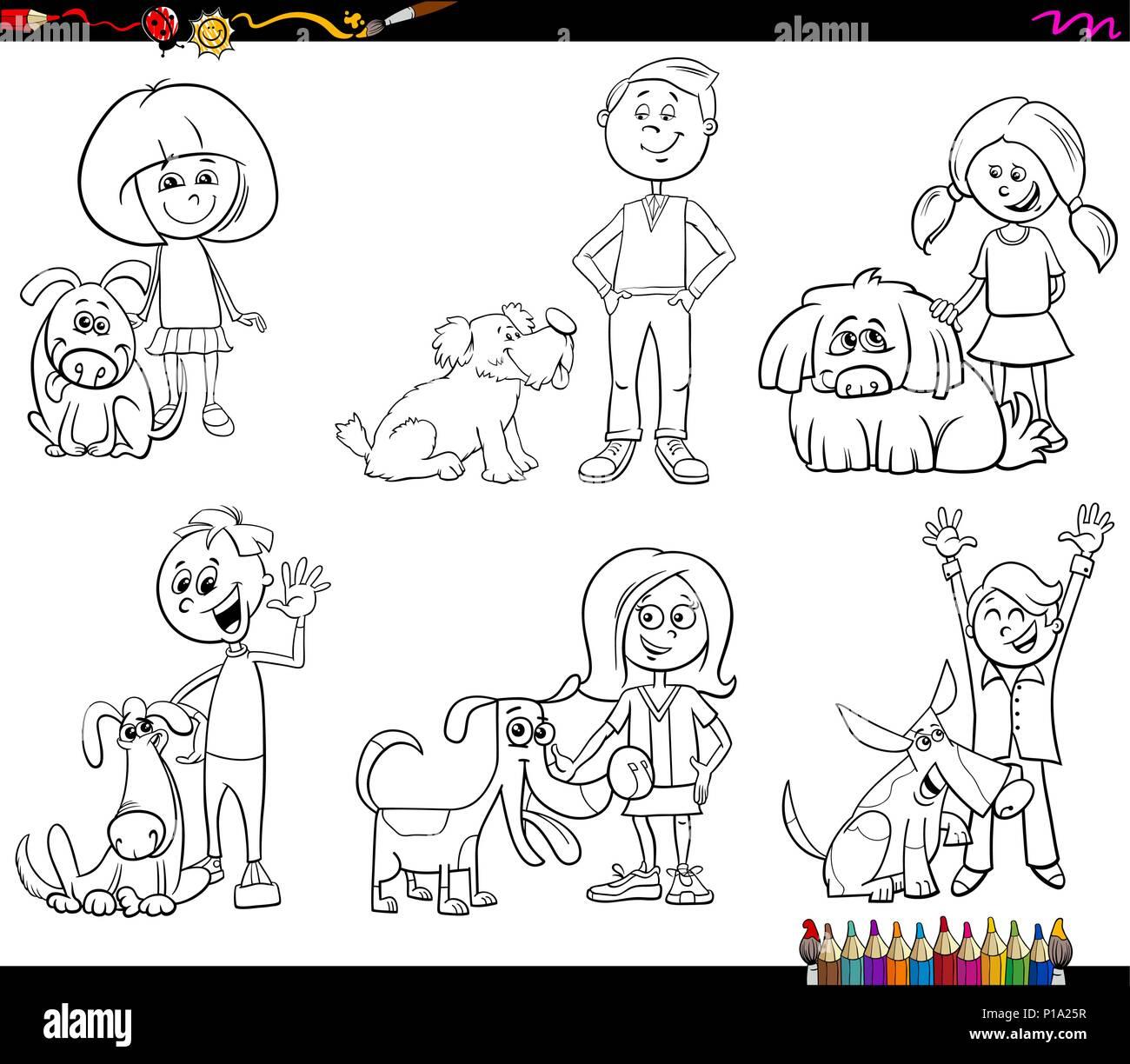 Cartoon Illustration Happy Dog Owner Stock Photos Cartoon