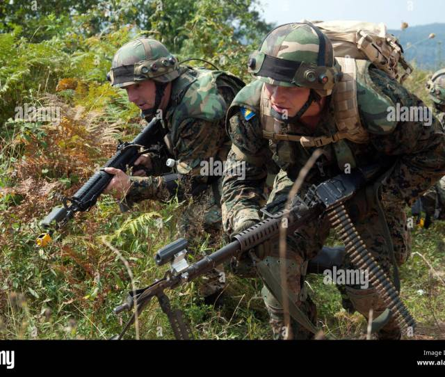 Soldiers From The Armed Forces Of Bosnia And Herzegovina Move For Better Cover And Concealment Sept 15 2016 During Training As Part Of Exercise