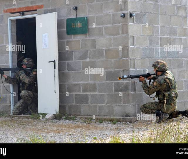 Soldiers From The Armed Forces Of Bosnia And Herzegovina Return Suppressive Fire Sept 15 2016 During Training As Part Of Exercise Immediate Response 16