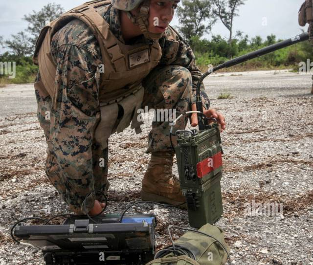 U S Marine Corps Lance Corporal Dominic Diaz A Field Radio Operator With 3rd Battalion 12th Marines Gets Coordinates For The High Mobility Artillery