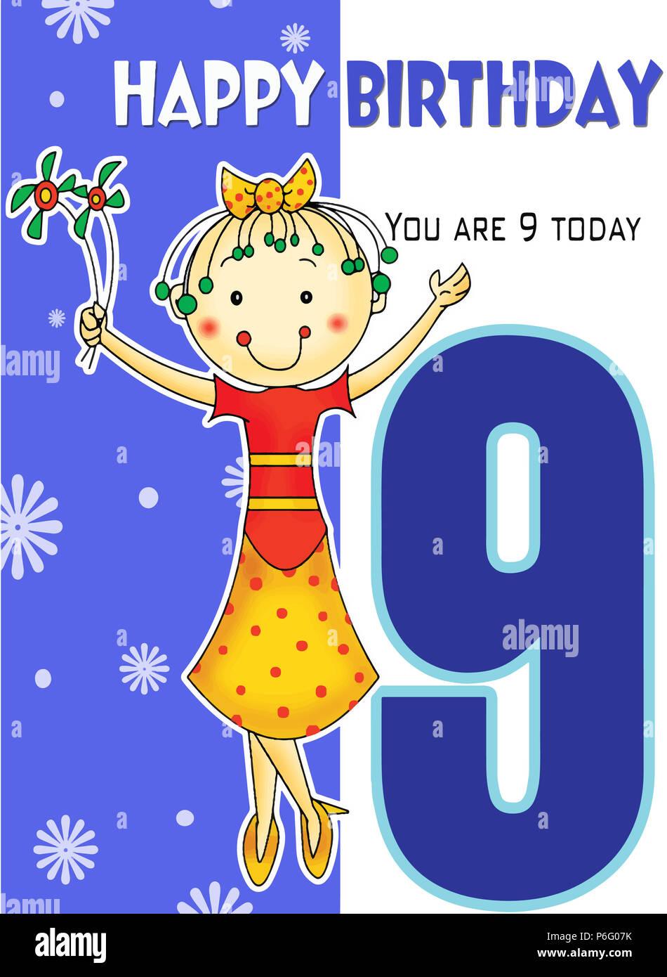 Happy 9th Birthday Stock Photo Alamy