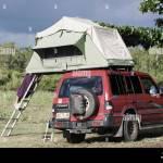Camping In Vehicle Rooftop Tent In Queensland Australia Stock Photo Alamy