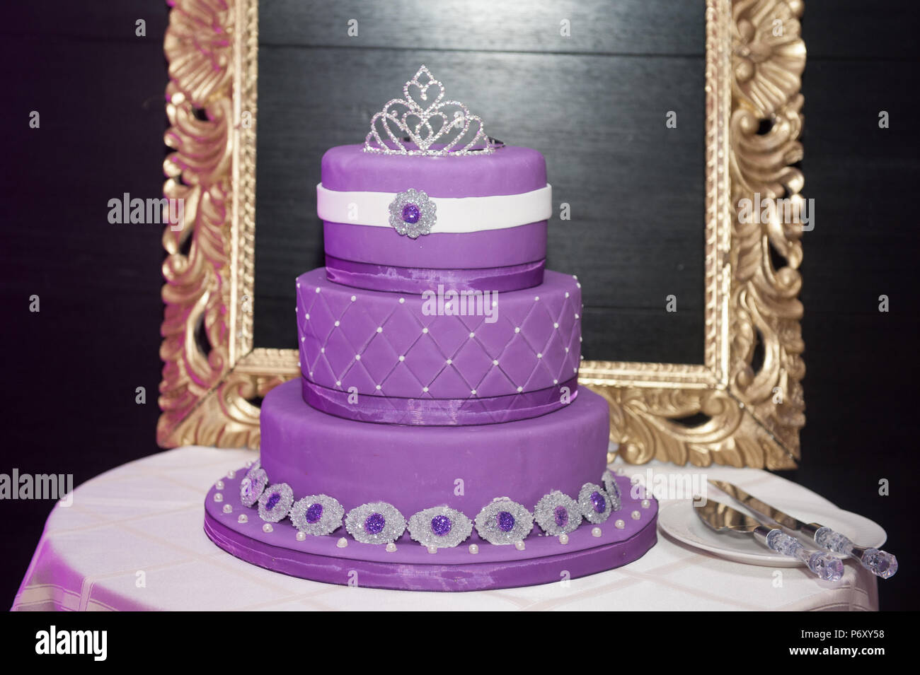 Sweet Sixteen Birthday Cake On A Cake Stand With Background A Picture Frame Stock Photo Alamy