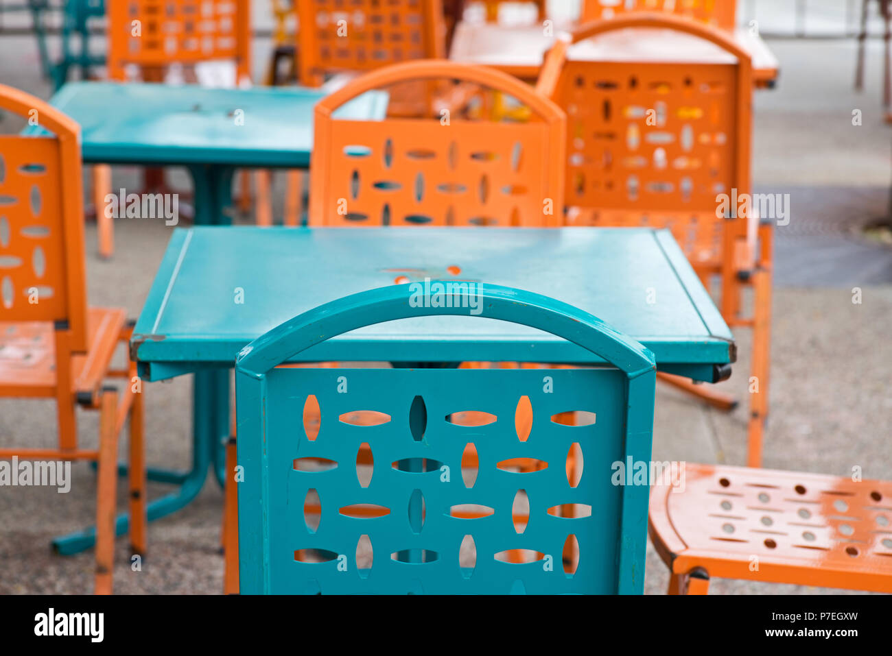 https www alamy com commercial outdoor colorful dining furniture restaurant metal patio side tables and chairs image211147633 html