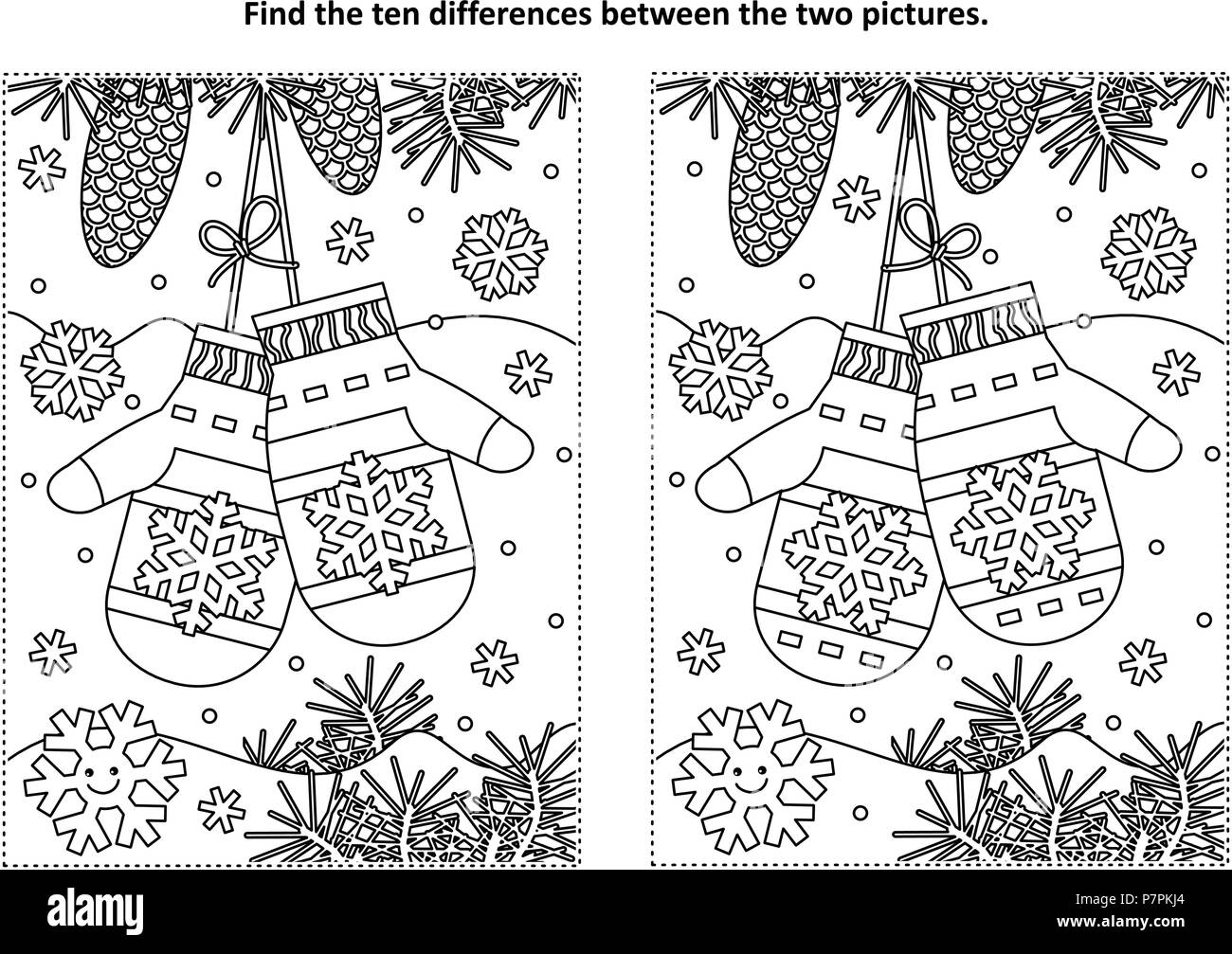 Spot The Difference Puzzle Black And White Stock Photos