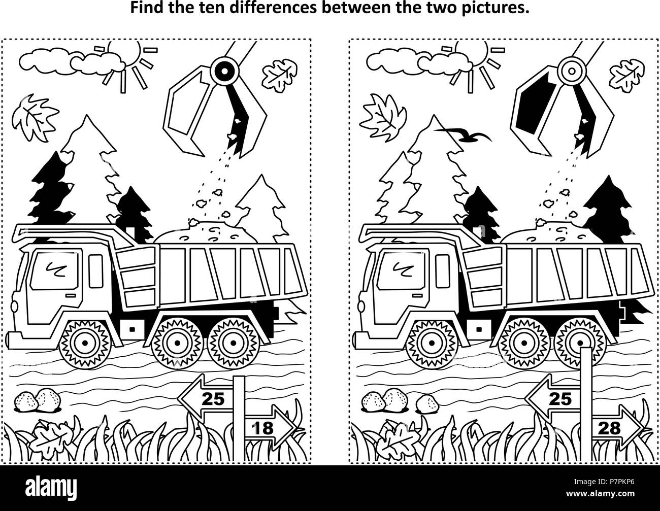 Find The Ten Differences Picture Puzzle And Coloring Page