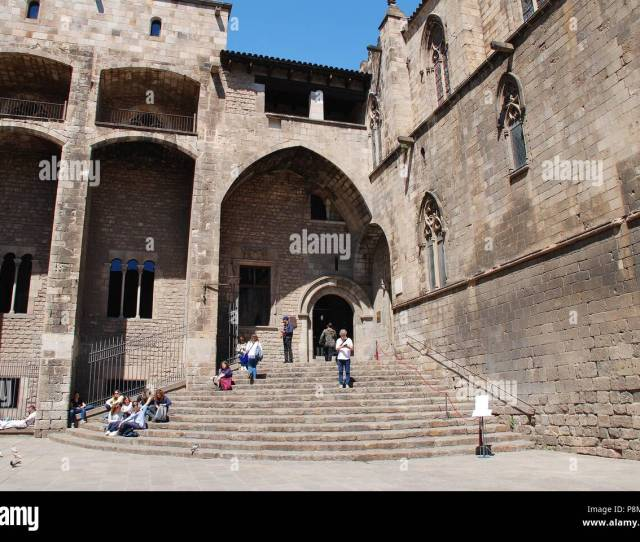 The Medieval Placa Del Rei In The Gothic Quarter Of Barcelona Spain On April   Its Steps Lead To The Royal Chapel Of Saint Agatha