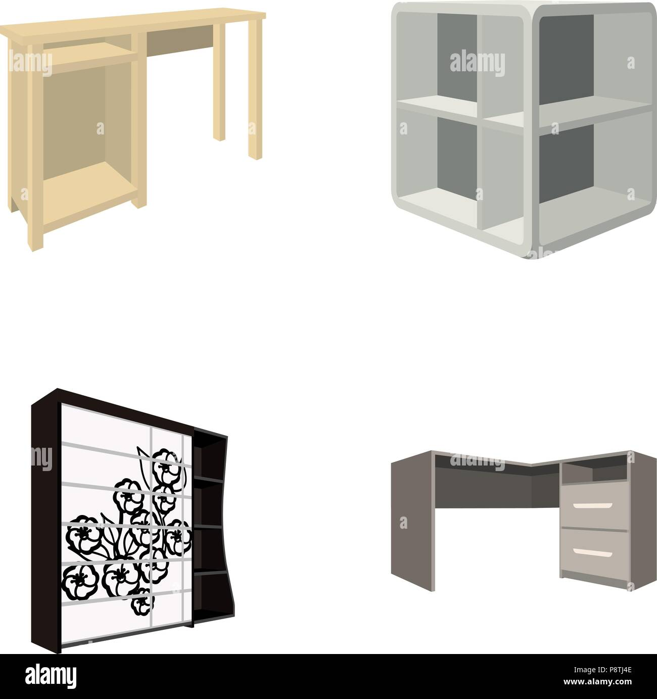 https www alamy com dressing table corner shelves computer desk wardrobe with glass bedroom furniture set collection icons in cartoon style vector symbol stock illust image211982750 html
