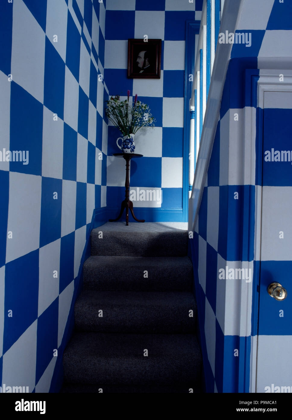 Blue Carpet Stairs High Resolution Stock Photography And Images   Blue Carpet On Stairs   Wooden   Grey Stair White Wall   Antelope   Geometric   Gray
