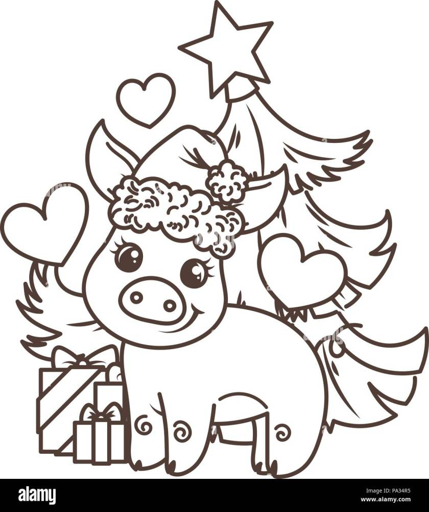 happy new  year card  cartoon baby pig in santa