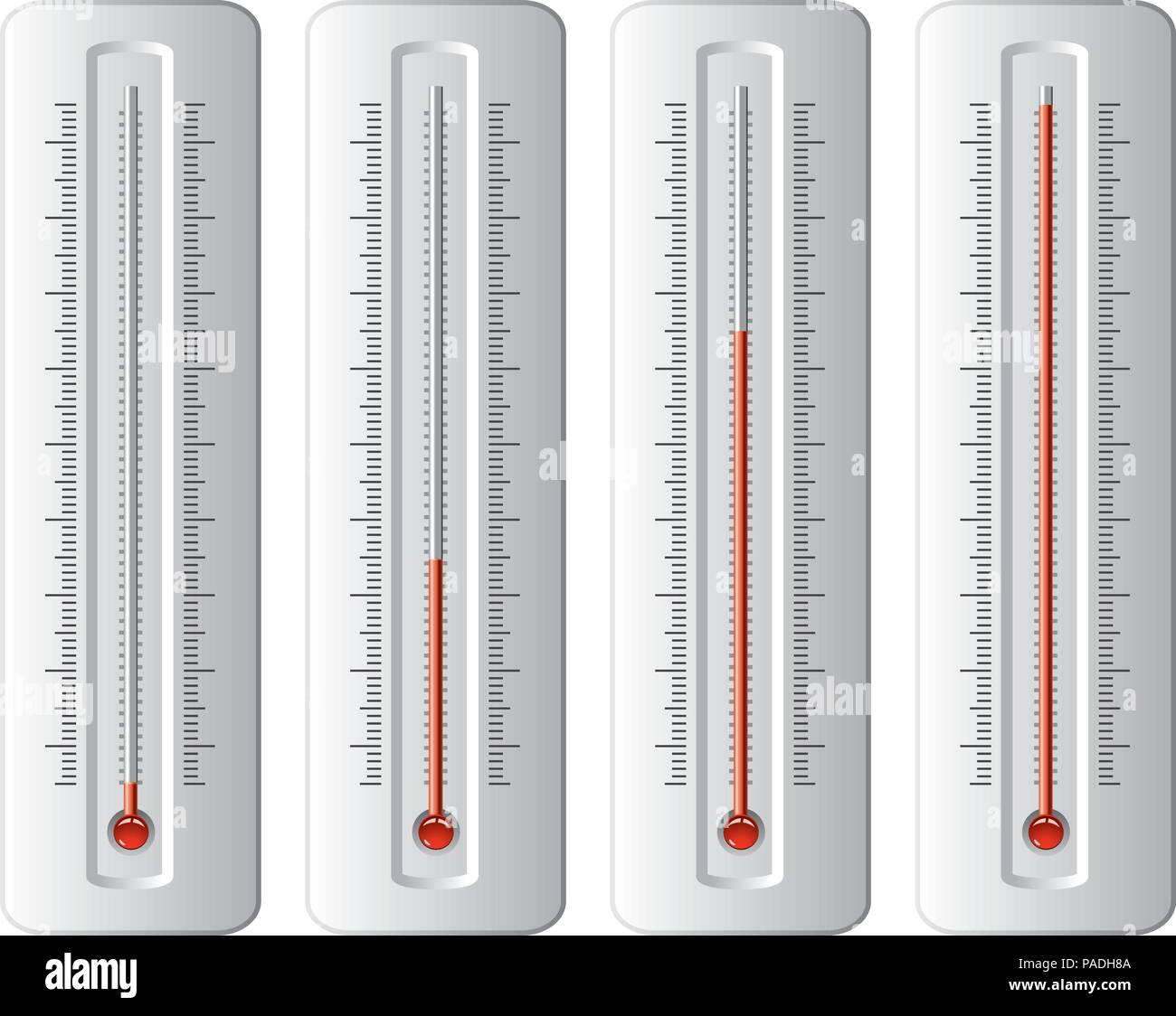 Vector Set Of Thermometers At Different Levels With Degrees No Numbers Red Bulb Temperature