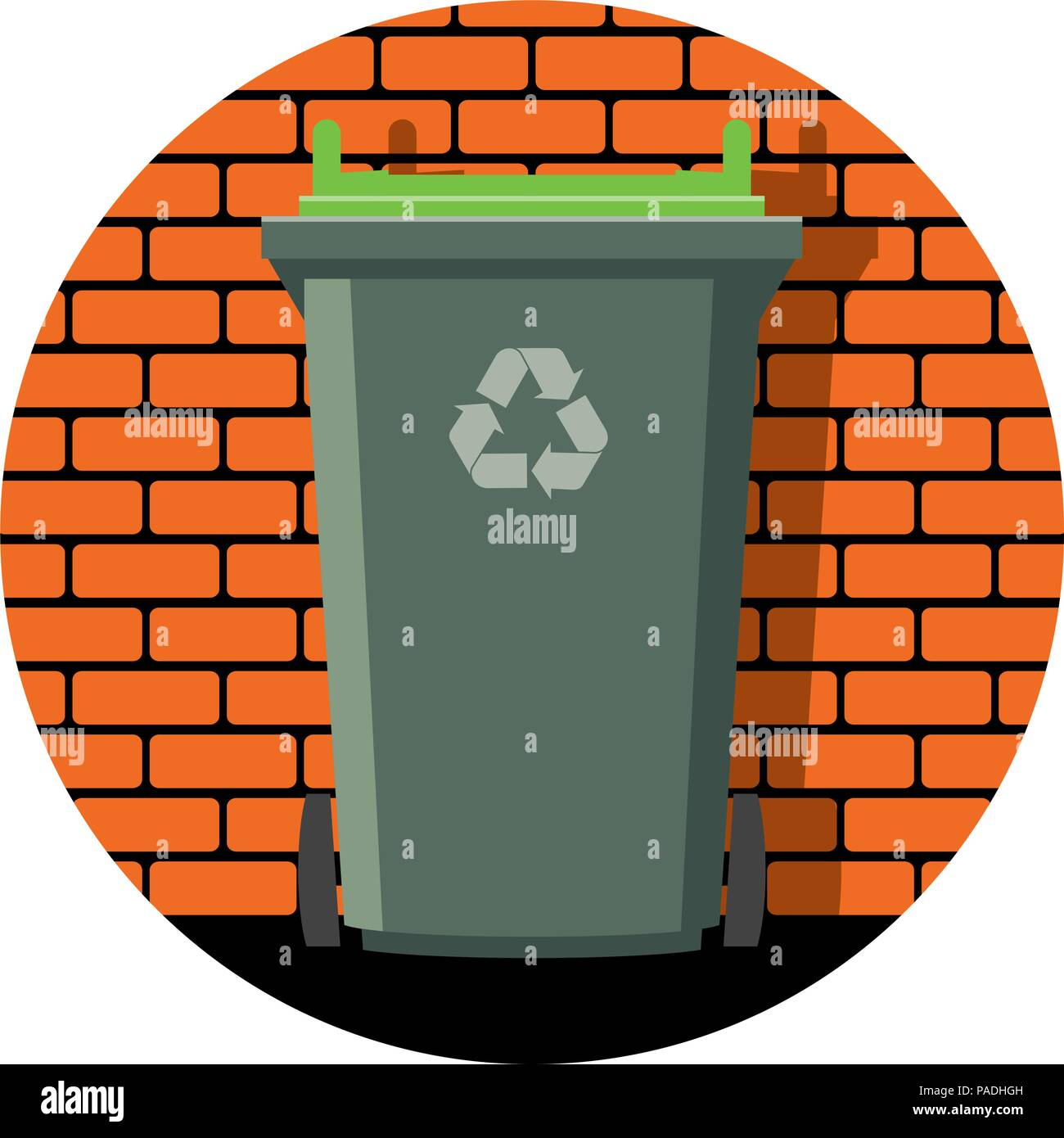 Vector Icon Of Recycling Wheelie Bin Against The Background Of A Brick Wall Garbage Can Recycle
