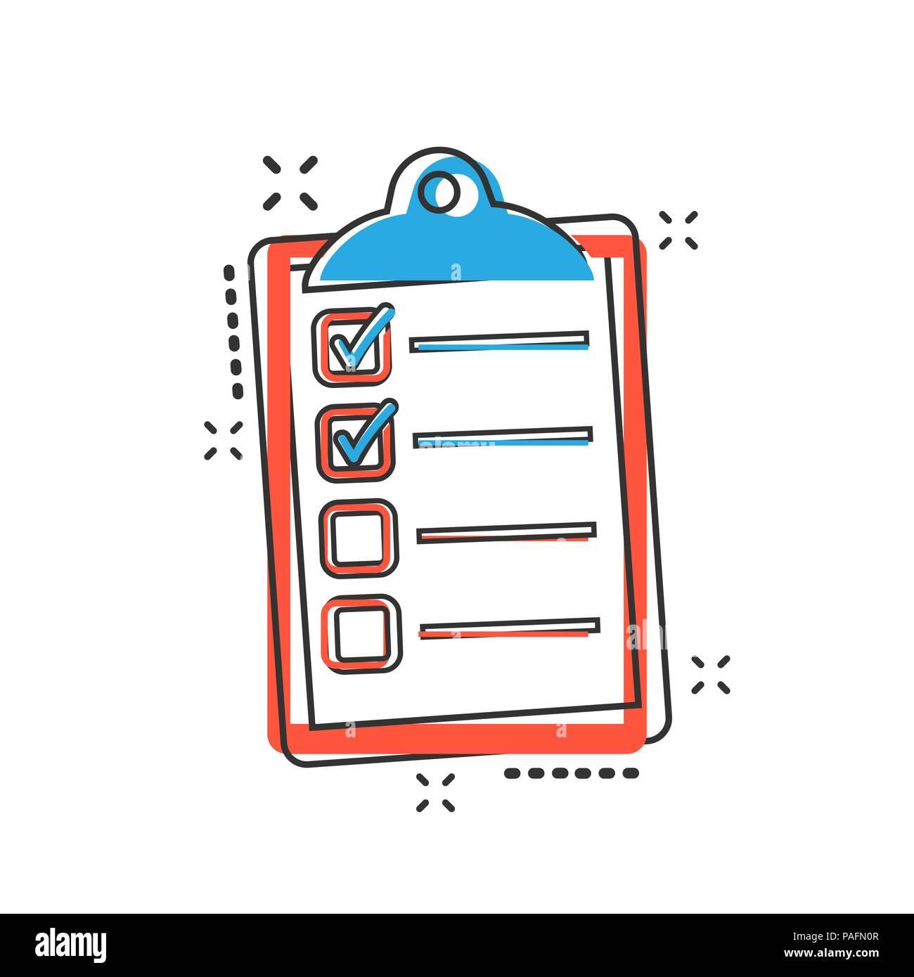 Vector Cartoon To Do List Icon In Comic Style Checklist