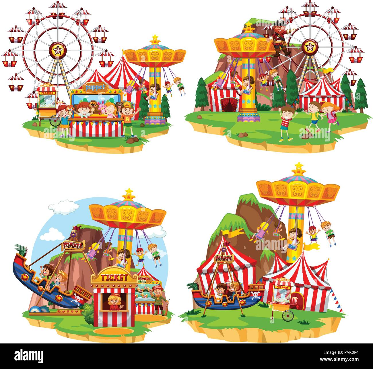 Carnival Rides Stock Vector Images Alamy