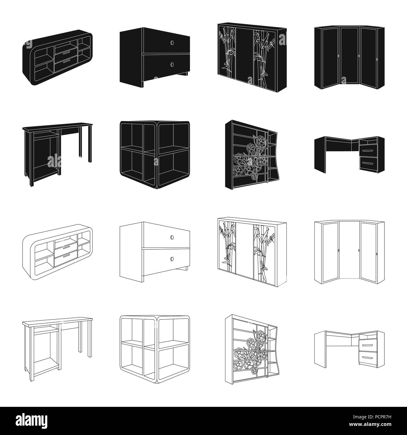 https www alamy com dressing table corner shelves computer desk wardrobe with glass bedroom furniture set collection icons in blackoutline style vector symbol stock image214401477 html