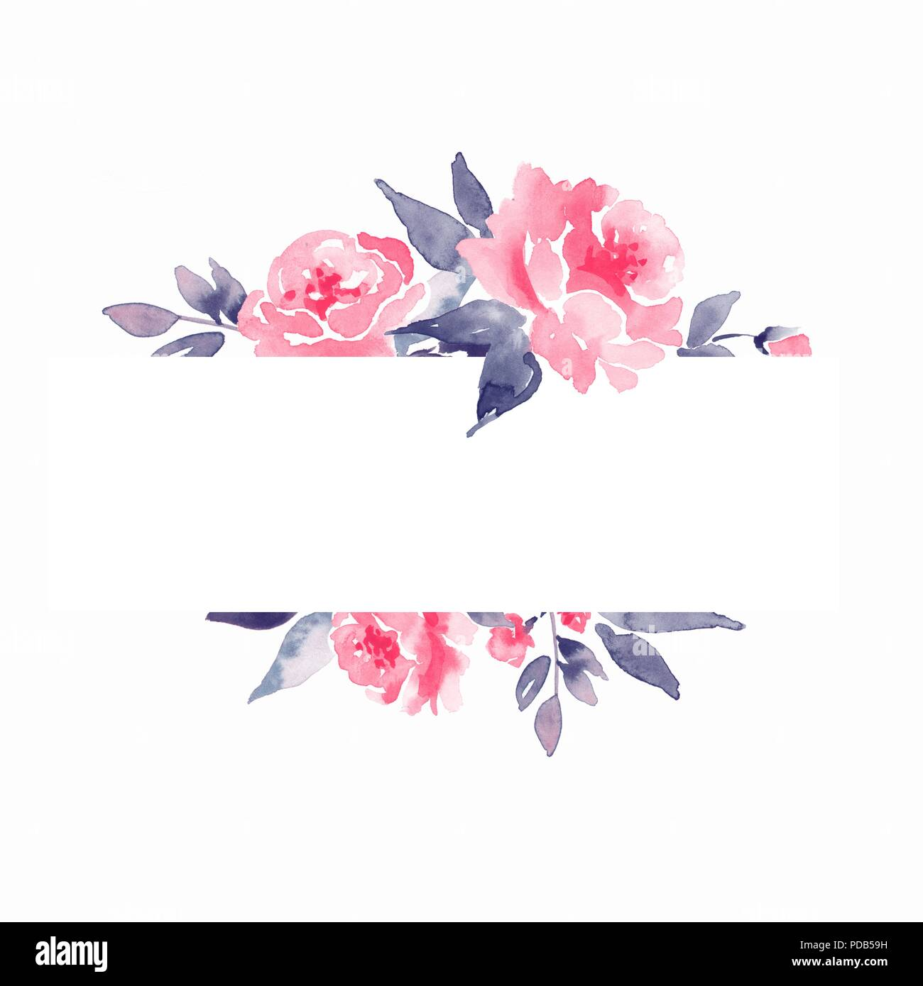 Watercolor Floral Frame Element For Design Background With Flowers Stock Photo 214760605 Alamy