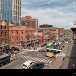 Aerial View Of Broadway Entertainment District With Rooftop Bars Restaurants And Entertainment Venues For Live Music Nashville Tn Usa Stock Photo Alamy