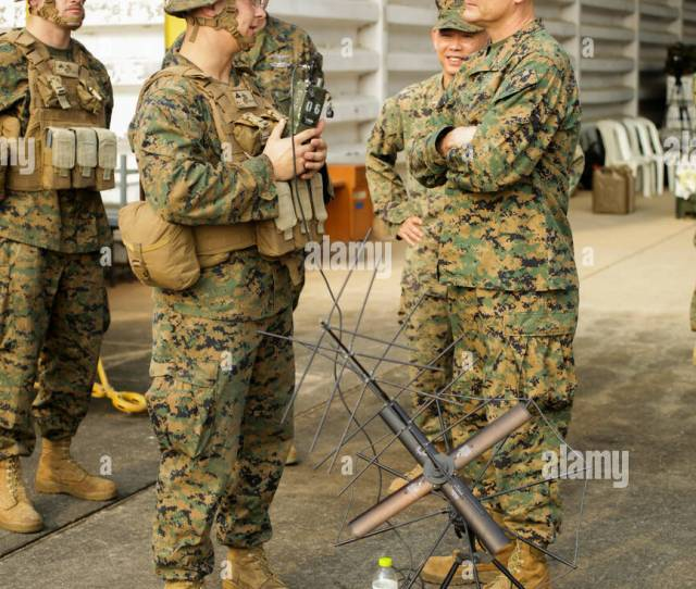U S Marine Corps Lance Cpl Michael Hundley A Field Radio Operator With Combat Logistics Battalion 31 Briefs Brig Gen Russell Sanborn During A