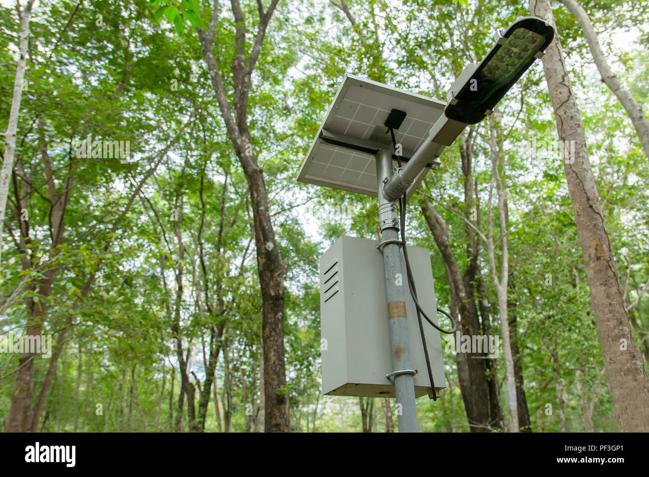 https www alamy com outdoor lighting pole street light led pole with small solar cell panel in public park image215823273 html