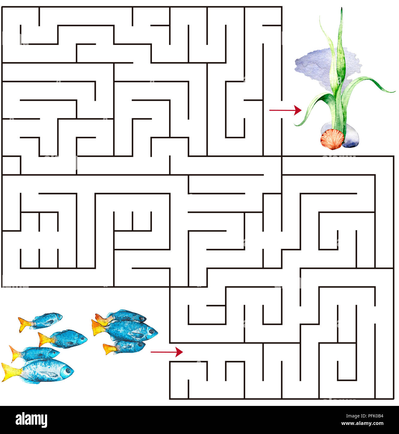 Maze Game For Kids Watercolor Template Page With Game