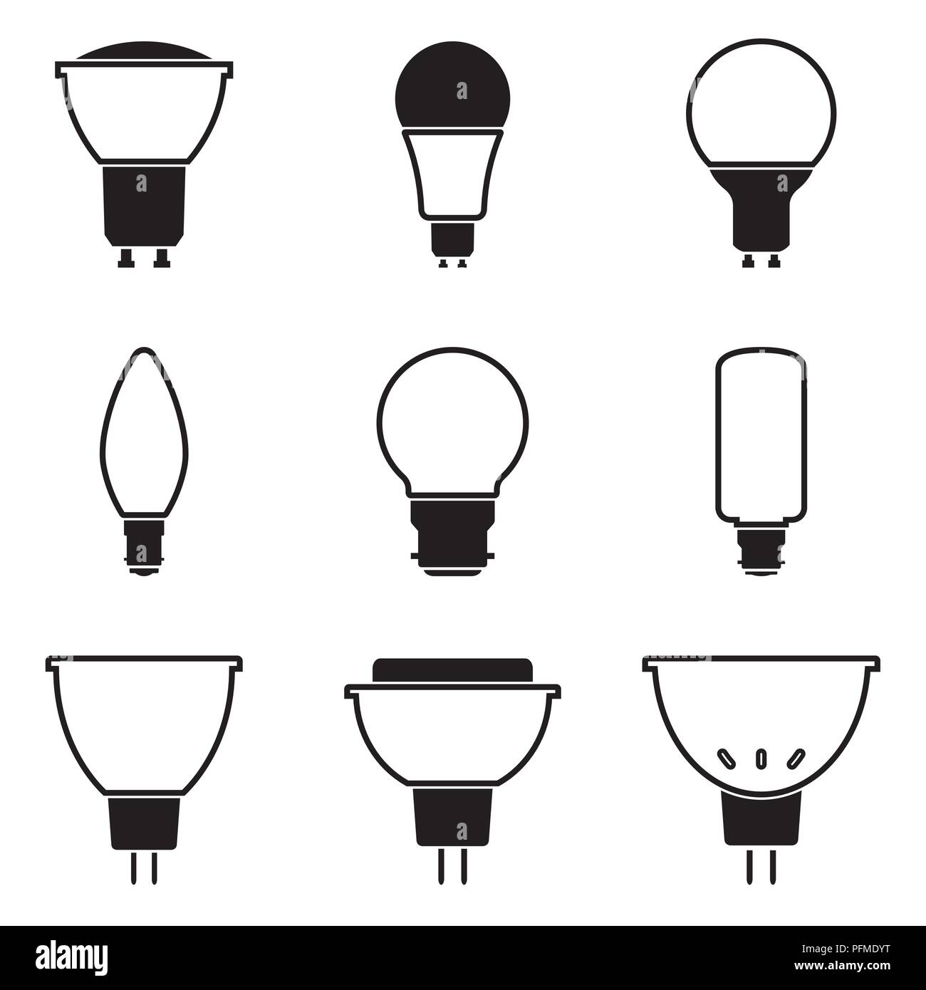 Halogen Light Bulb Different Types Of Holder Flat Vector Stock Vector Image Art Alamy
