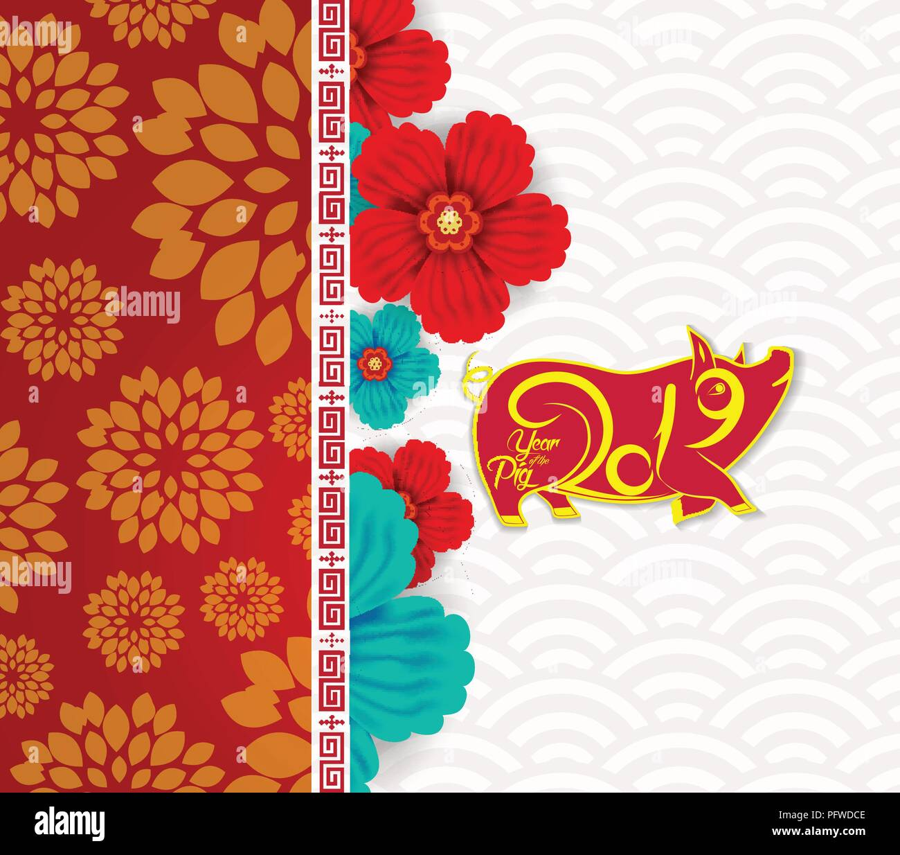 Happy Chinese New Year Zodiac Sign With Gold Paper Cut Art And Craft Style On Color