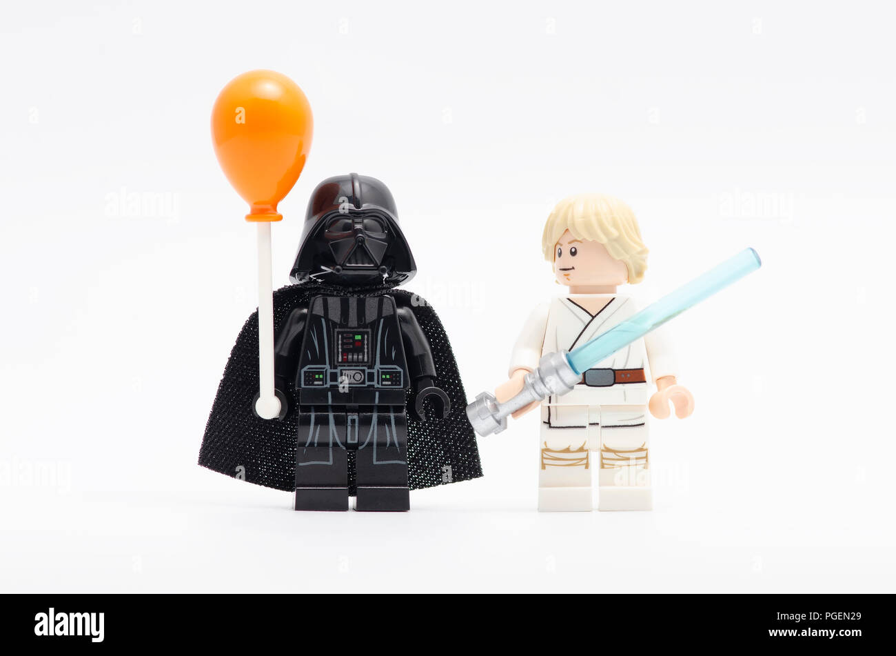 Darth Vader Holding Balloon With Luke Skywalker Watching Him Lego Minifigures Are Manufactured By The Lego Group Stock Photo Alamy