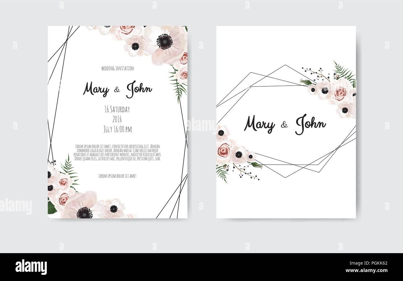 https www alamy com wedding invite invitation botanical wedding invitation card template design white and pink flowers vector template set image216791066 html