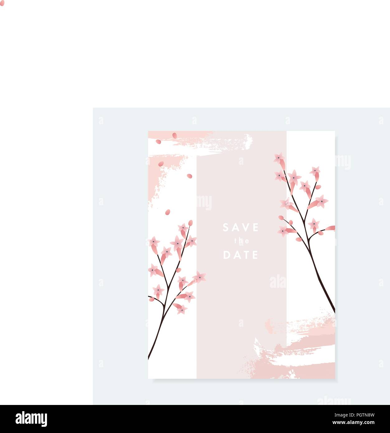 https www alamy com floral wedding invitation greeting card with pale pink blooming flowers and artistic brush stroke texture on white background simple botanical design vintage vector illustration brochure template image216902473 html