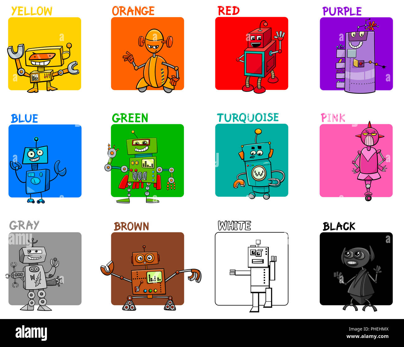 Main Colors Cartoon Educational Set With Robots Stock
