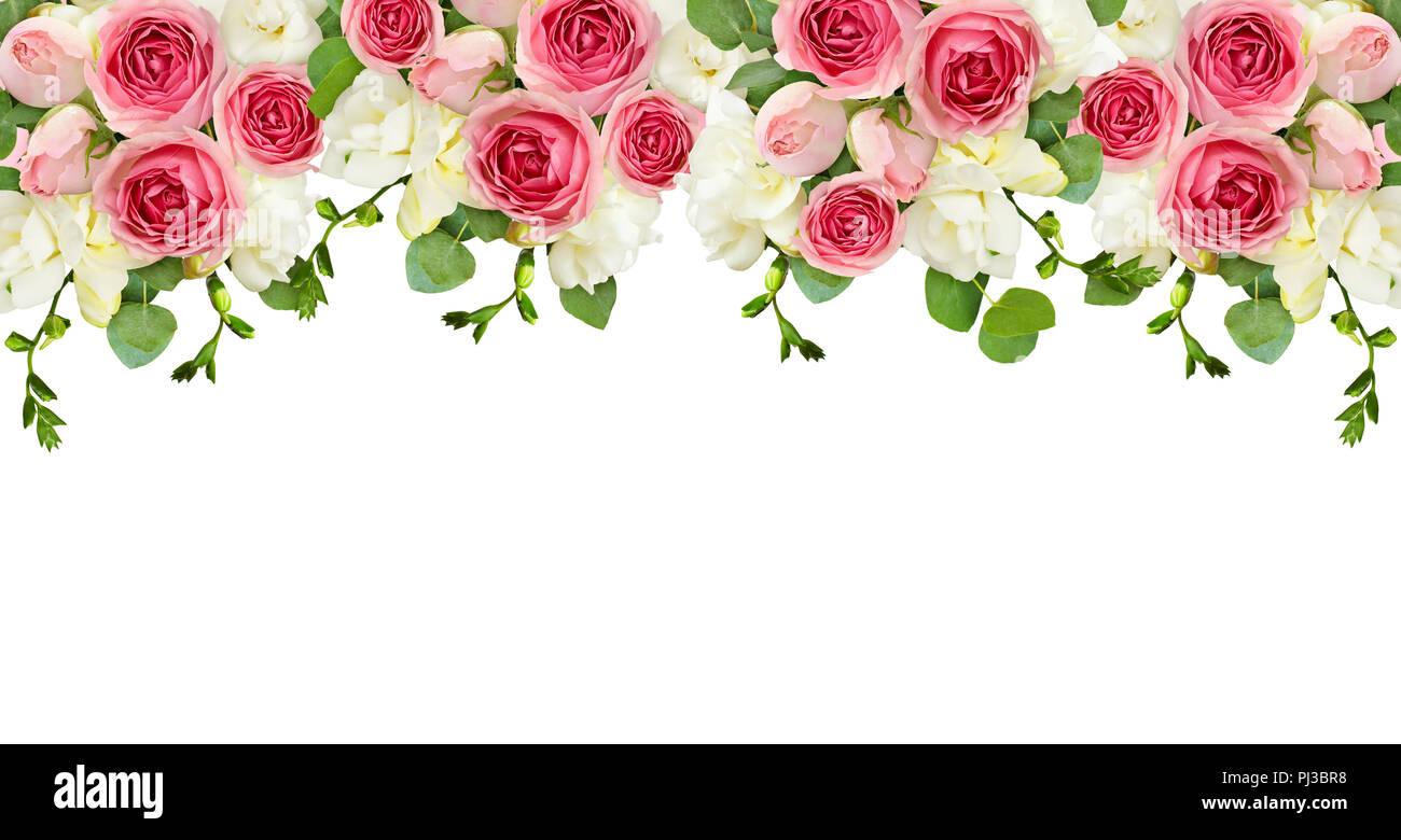 Eucalyptus Leaves, Freesia And Pink Rose Flowers In A Top