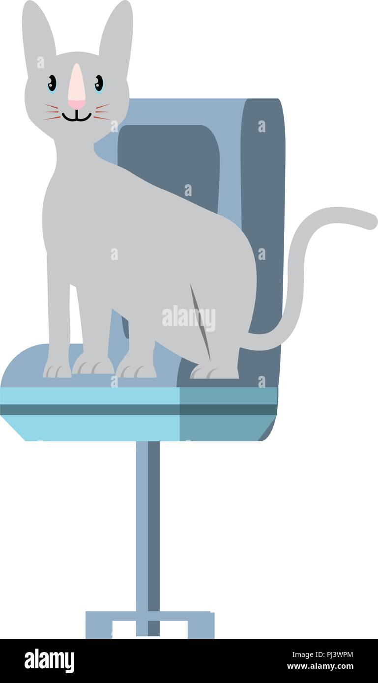 Cute Kitty On Office Chair Over White Background Vector