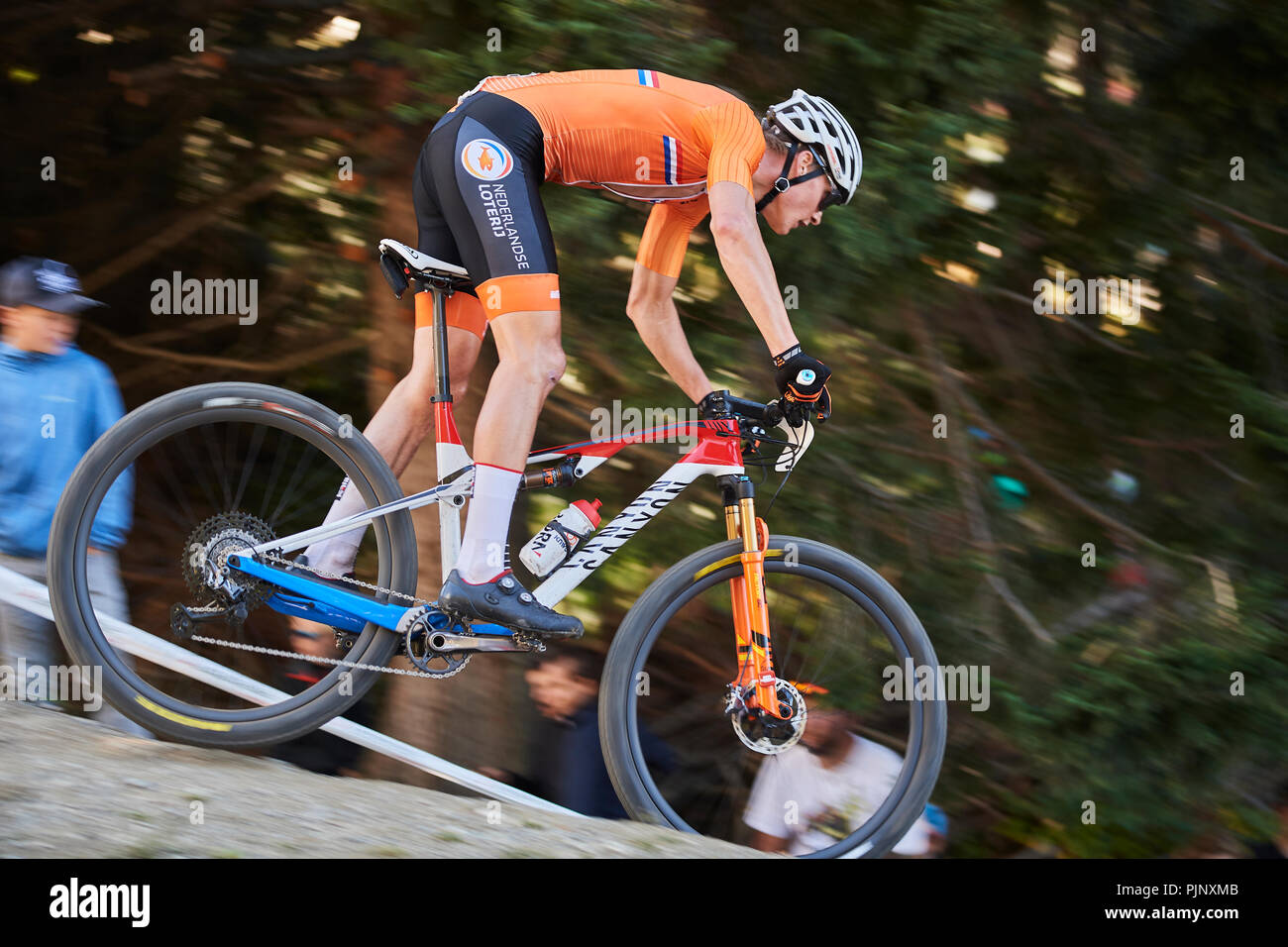 https www alamy com lenzerheide switzerland 8th september 2018 mathieu van der poel during the uci 2018 mountain bike world championships men elite cross country olympic xco in lenzerheide credit rolf simeonalamy live news image218070171 html