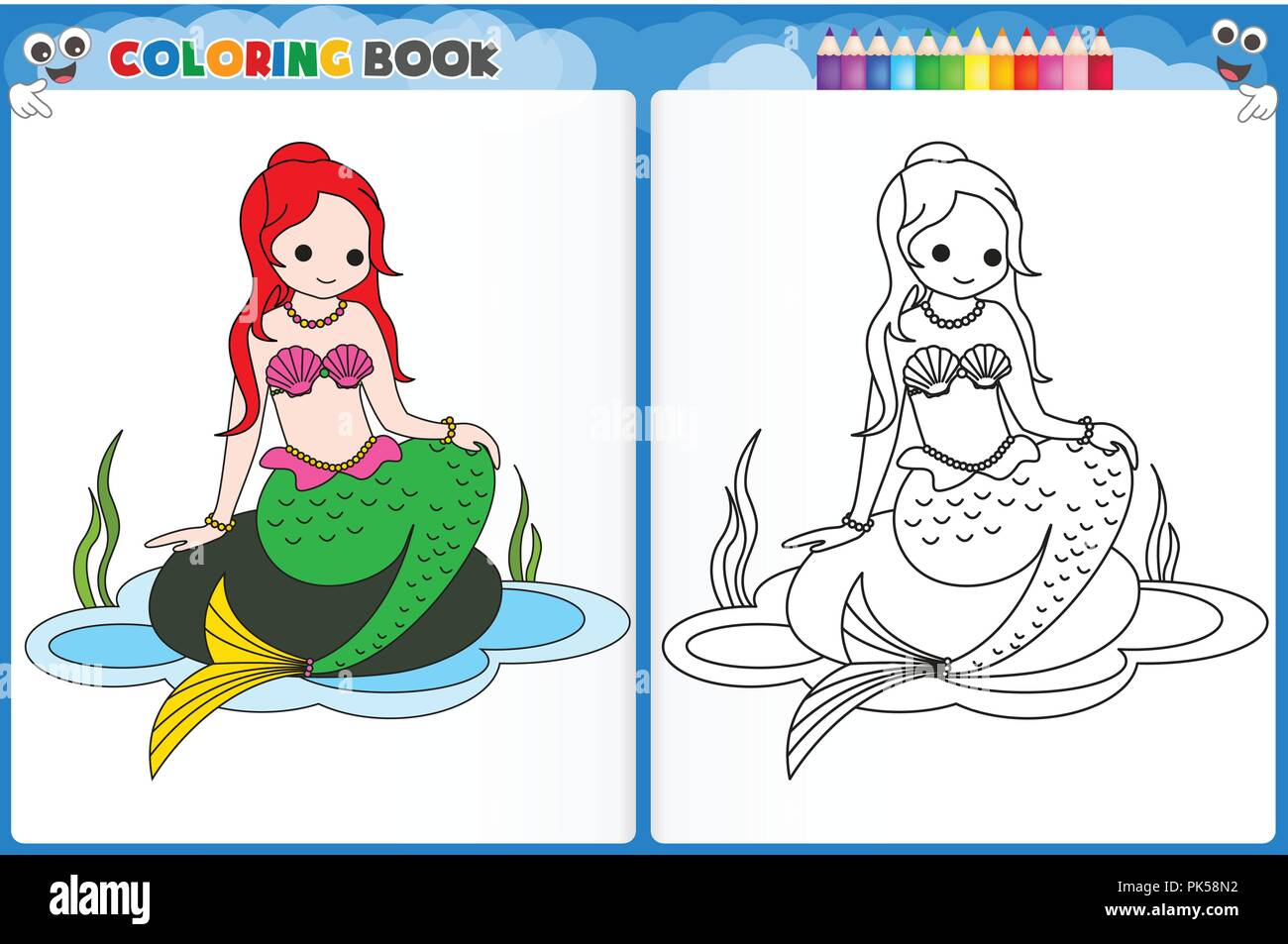 Coloring Page Mermaid With Colorful Sample Printable