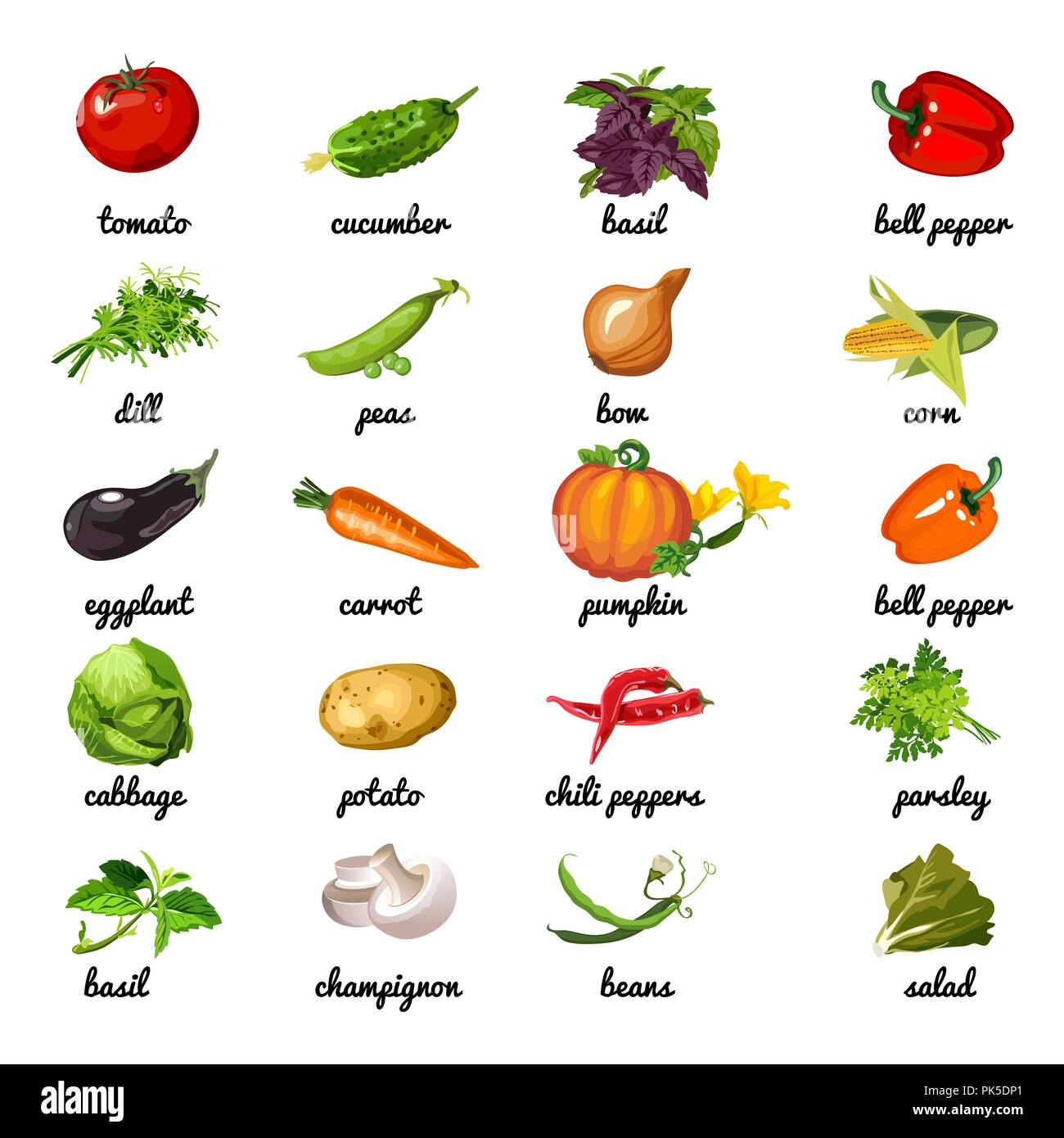 Cute Poster On Topic Of Healthyt Vegetables And Herbs