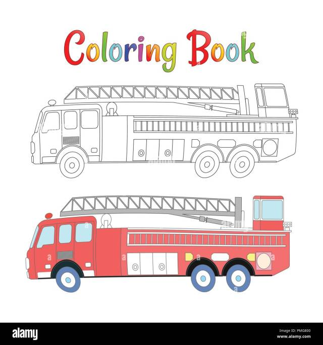 Fire truck coloring book vector. Coloring pages for kids Vector
