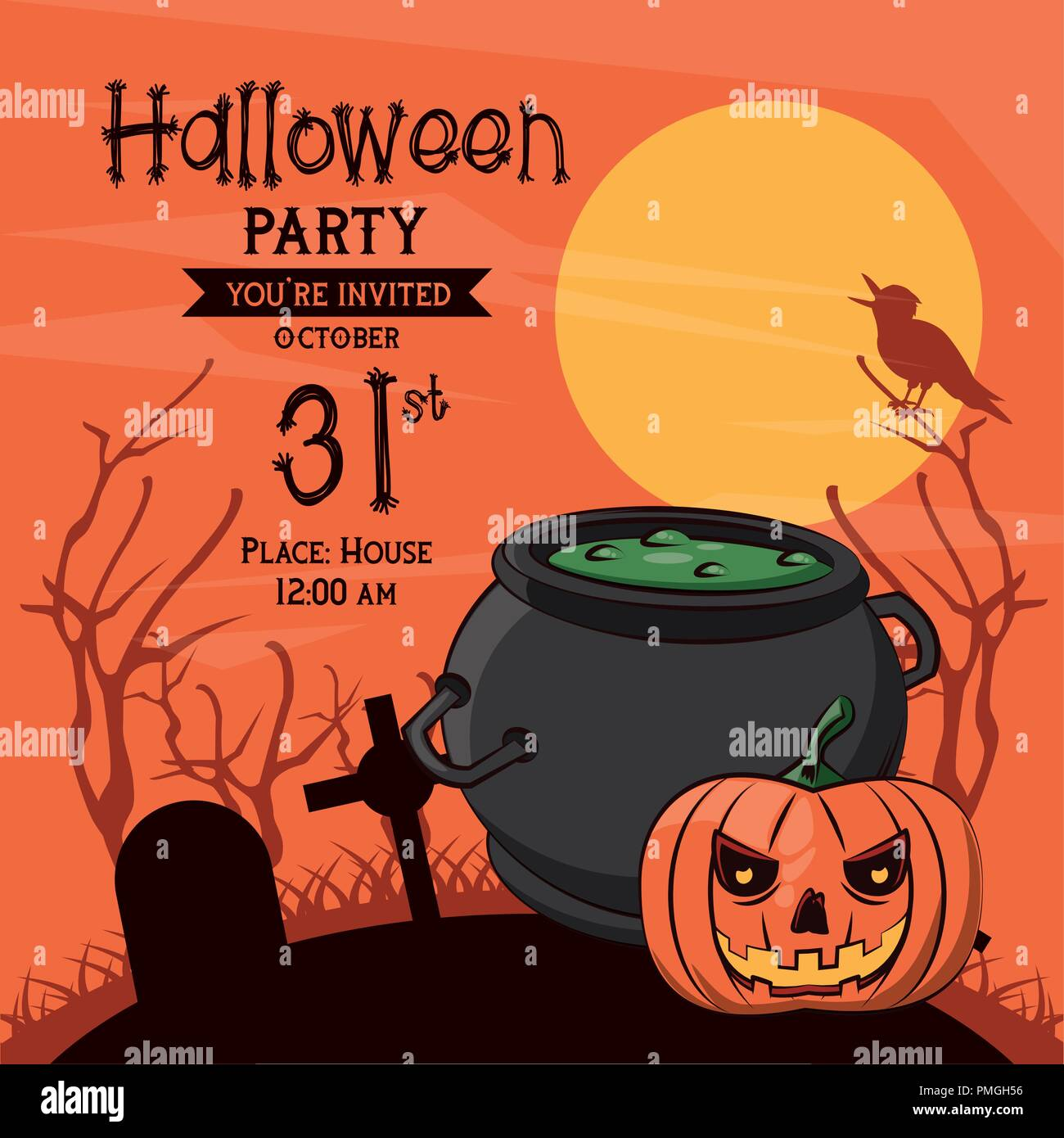 https www alamy com halloween party invitation card image219182242 html