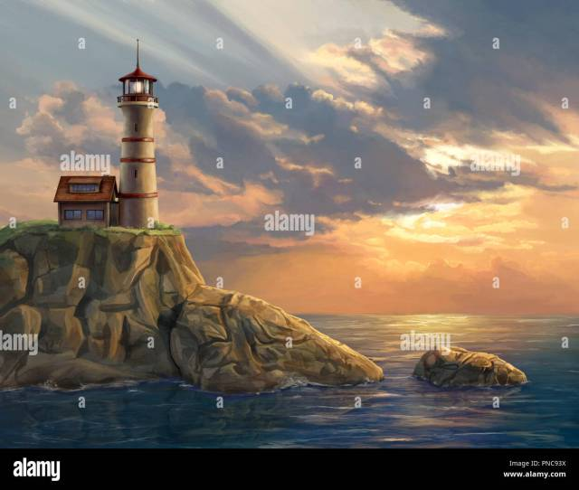 Lighthouse On A Rocky Coastal Cliff At Sunset Digital Painting Stock Image