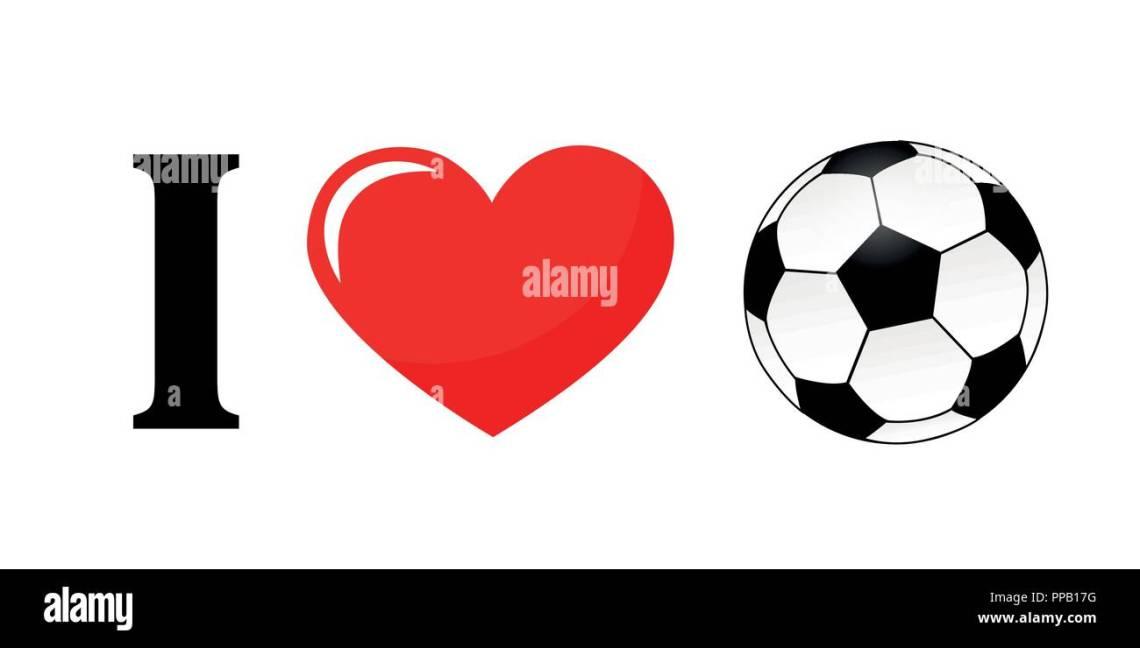 Download I love football pictogram typography vector illustration ...