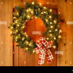 Beautiful Christmas Decorations Wreath With Ribbon Bow And