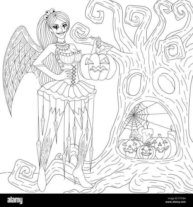 Halloween Coloring Pages. Coloring Book for adults. Gothic girl