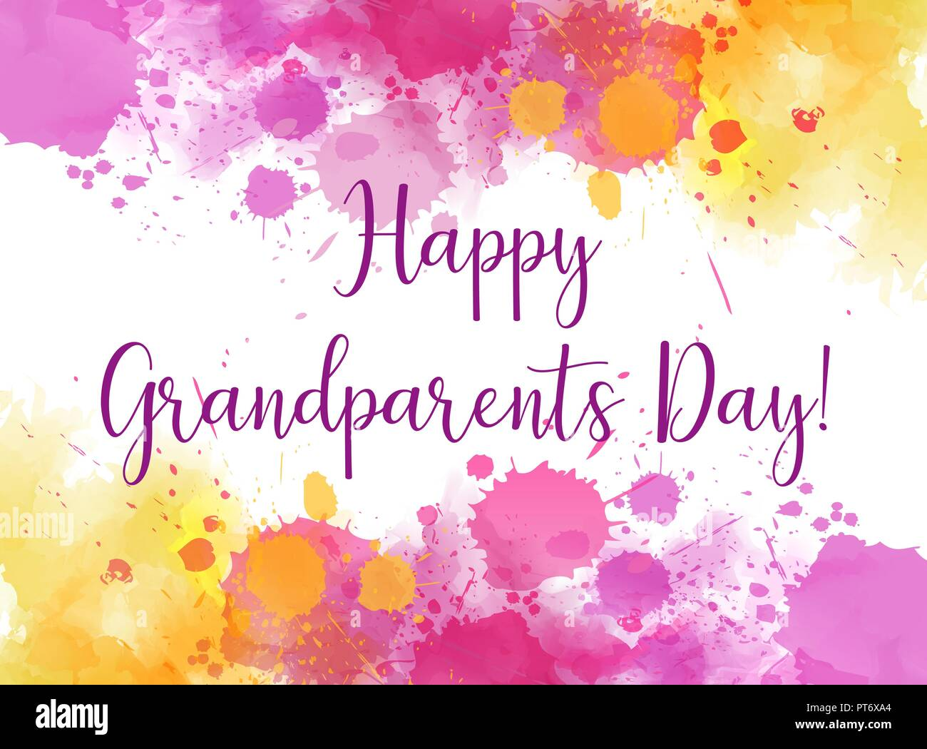 Happy Grandparents Day Abstract Greeting Card Background With Watercolor Splashes Frame Stock Vector Image Art Alamy